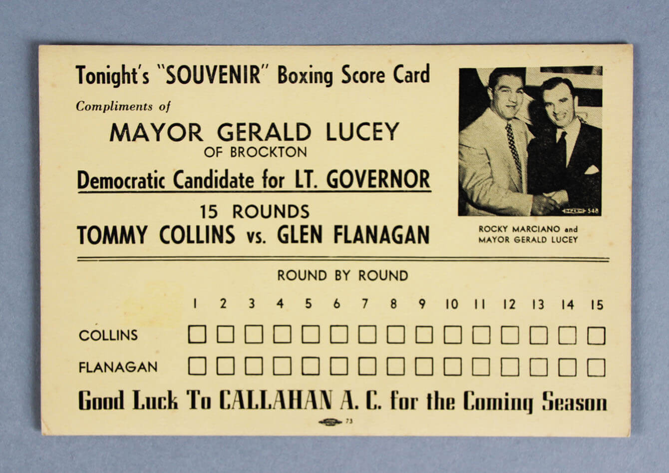 Aug. 25, 1952 Tommy Collins vs. Glen Flanagan Boxing Score Card