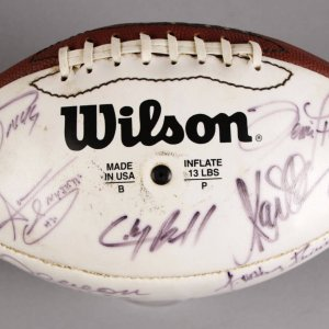 NFL HOFer's Multi-Signed Football - 20+ Sigs. Incl. Steve Young, Brett Favre, Marcus Allen etc. - JSA