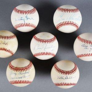 1961 New York Yankees Signed Baseball Lot (7) - Whitey Ford, Tony Kubek etc. - JSA