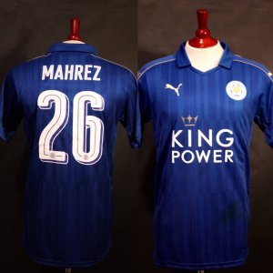 A Riyad Mahrez Game-Used & Unwashed #26 Leicester City FC Home Shirt.  2016/17 UEFA Champions League.