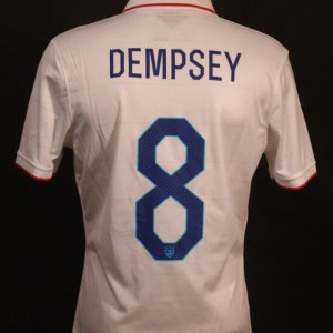 A Clint Dempsey Game-Used #8 US National Team Home Shirt.  2014 FIFA World Cup Friendlies.