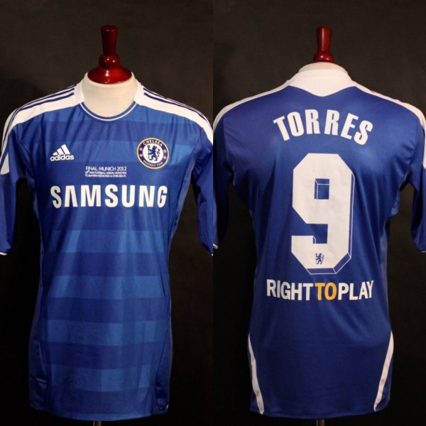 A Fernando Torres Game-Issued #9 Chelsea FC Home Shirt.  2012 UEFA Champions League Final.  CHE v BAY 1-1 (4-3 AET).