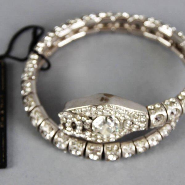 Chanel Diamanté Crystal Logo Snake Serpent Metal Bracelet