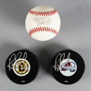 Hockey Lot - Ray Bourque & Manon Rhéaume Signed Puck (2) & Baseball - JSA