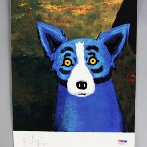 Artist George Rodrigue Signed 8x10 Blue Dog Photo - COA PSA/DNA