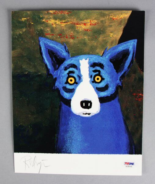 Artist George Rodrigue Signed 8x10 Blue Dog Photo - COA PSA/DNA