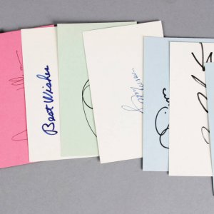 NFL QB Lot Signed 3x5 Index Cards (8)- Jim Kelly, Phil Simms, etc. - JSA