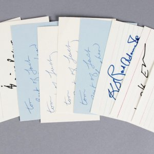NFL Stars Lot Signed 3x5 Index Cards (10)- George Blanda, Earl Campbell, etc. - JSA