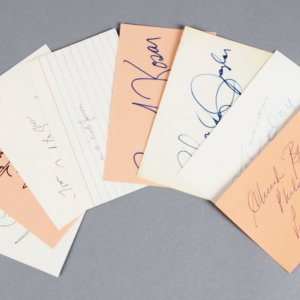 NFL Stars Lot Signed 3x5 Index Cards (8)- Bernie Kosar, Chuck Bednarik, etc. - JSA