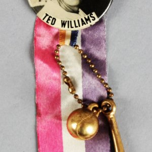 1950s PM10 Ted Williams Pin (w/Ribbon & Ball Bat)