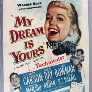 MY DREAM IS YOURS 1sh '49 Jack Carson, Doris Day, Lee Bowman, Adolphe Menjou!