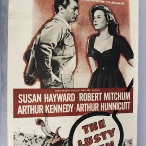 1956 LUSTY MEN Movie Poster style A 1sh R56 Robert Mitchum Susan Hayward & riding on bull