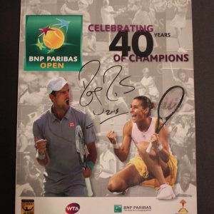 A Roger Federer Signed 2015 BNP Paribas Open Tournament Program.