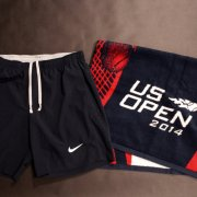 A Pair of Roger Federer Game-Used Custom Nike Tennis Shorts & On Court Towel.  2014 US Open.