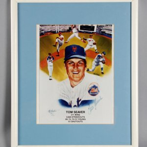 Tom Seaver Signed New York Mets Photo Display - JSA