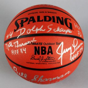 NBA HOFer's Multi-Signed Basketball (8) Sigs. Dave Debusschere, Earl Monroe etc. - JSA