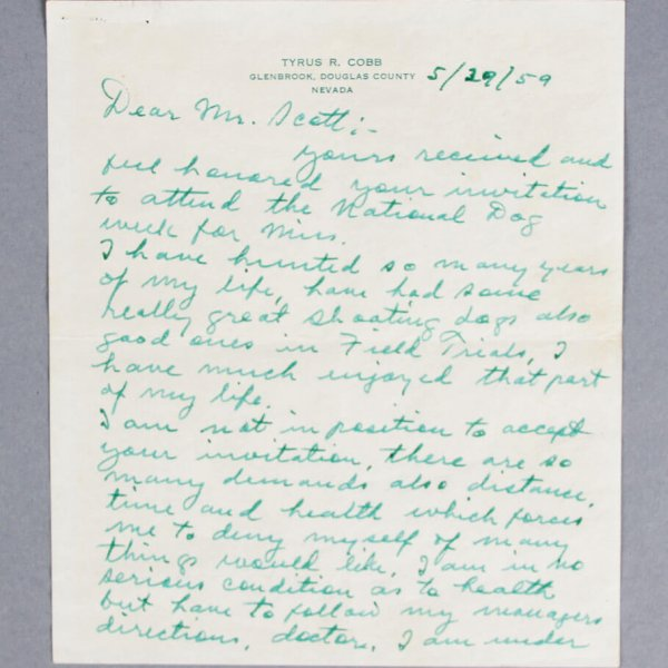 Ty Cobb Detroit Tigers Signed Handwritten Letter - JSA Full LOA