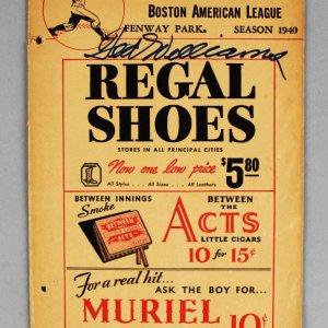 1940 Ted Williams Signed Boston Red Sox Program vs. Philadelphia Athletics - JSA