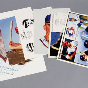 Baseball Signed Photo Lot (6) - Johnny Bench, Warren Spahn etc. - JSA