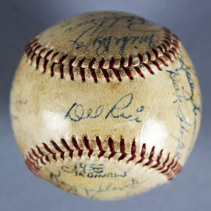 1954 Cardinals Team-Signed Game-Used ONL (Giles) Baseball - Wally Moon (ROY) Stan Musial, Del Rice  - JSA & 100% Team