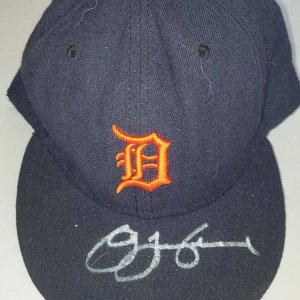 2004 Fernando Vina Game-Used Detroit Tigers Cap Signed by Omar Infante COA 100% Authentic Team