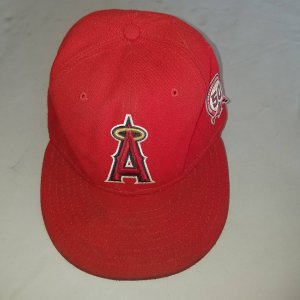 California Angels Red Game-Use Cap 50th Anniversary