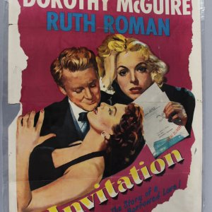 Invitation (1952) Original One-Sheet Movie Poster Folded VAN JOHNSON DOROTHY MCGUIRE RUTH ROMAN