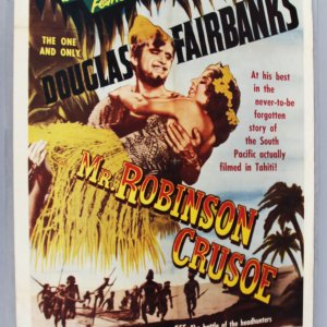 1953 MR ROBINSON CRUSOE One-Sheet Movie Poster EX Folded Condition R 63-615