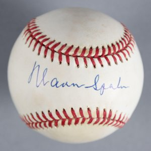 Warren Spahn Boston Braves Signed Baseball - COA JSA