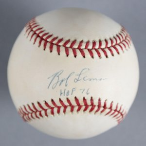 "Bob Lemon Cleveland Indians Signed, Inscribed ""HOF 76"" Baseball - COA JSA"