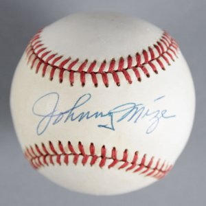 Johnny Mize New York Yankees Signed Baseball - COA JSA