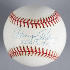 "Johnny Podres Brooklyn Dodgers Signed, Inscribed ""'55 W.S. M.V.P."" Baseball - COA JSA"
