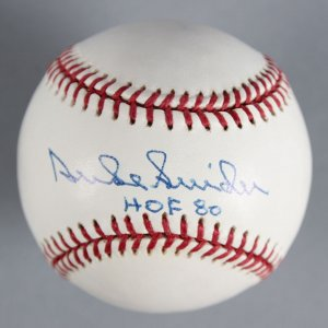 "Duke Snider Brooklyn Dodgers Signed, Inscribed ""HOF 80"" Baseball - COA JSA"