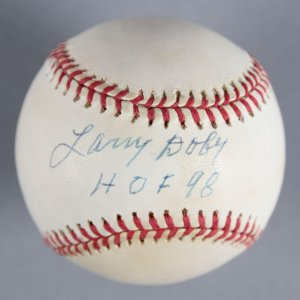 "Larry Doby Newark Eagles Signed, Inscribed ""HOF 98"" Baseball - COA JSA"