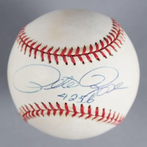 "Pete Rose Cincinnati Reds Signed, Inscribed ""4256"" Baseball - COA JSA"