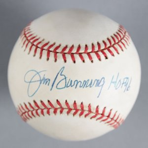 "Jim Bunning Detroit Tigers Signed, Inscribed ""HOF 96"" Baseball - COA JSA"