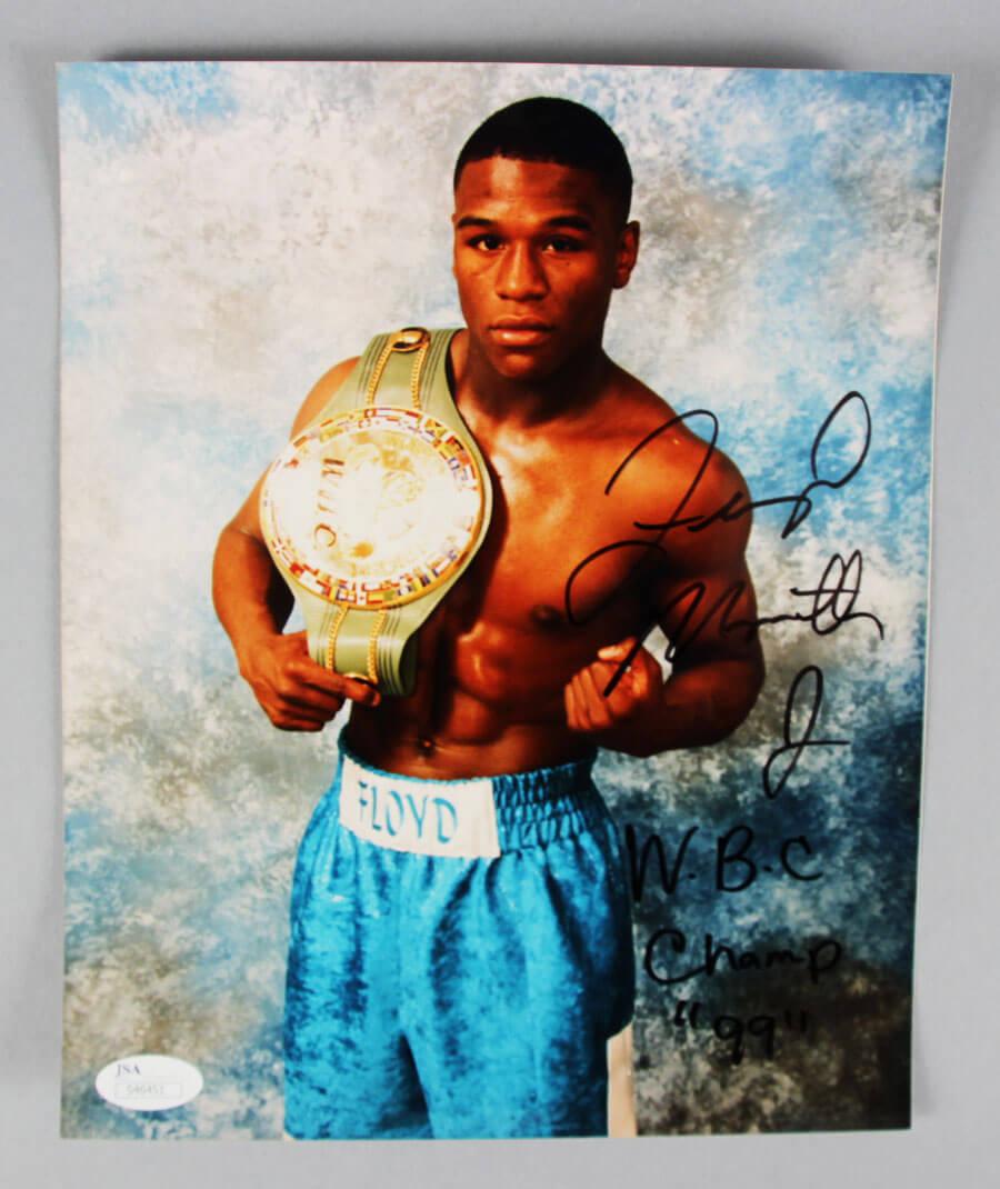 Floyd Mayweather Jr. Signed Boxing Photo - COA JSA