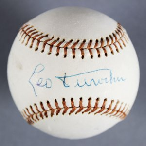 Leo Durocher Brooklyn Dodgers Signed (Feeney)  Spalding Baseball - JSA Full LOA
