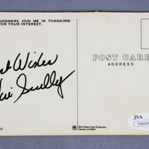 Vin Scully Los Angeles Dodgers Broadcaster Signed Post Card - COA JSA