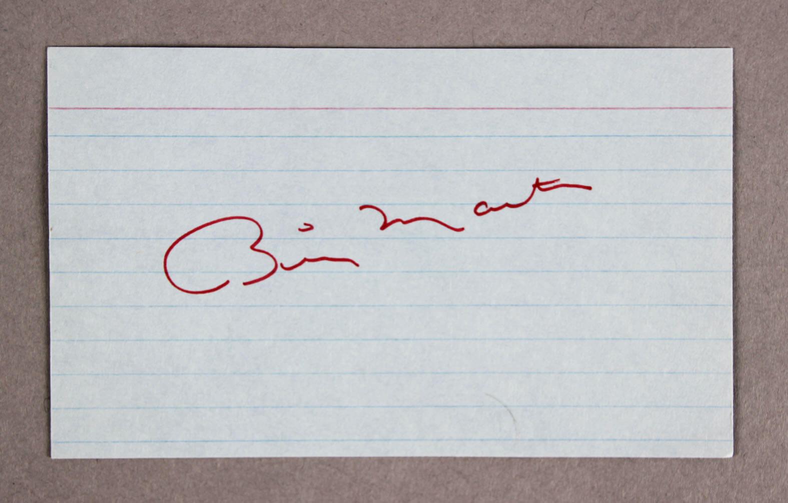 Billy Martin Signed Index Card Yankees - COA JSA