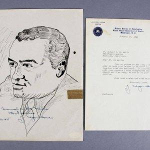 J. Edgar Hoover Signed Sketch & Typed Letter - COA JSA