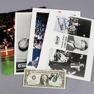 NBA Signed FiveMagic 8x10 Basketball Photos - Magic Johnson, Jerry West, etc. - JSA