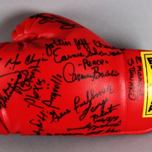 Boxing Greats Multi-Signed Boxing Glove (13 Signatures) With Ali, Basilio, Griffin, Sadler,  - JSA Full LOA