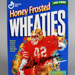 LeRoy Neiman Signed Honey Frosted Wheaties Cereal Box - COA JSA