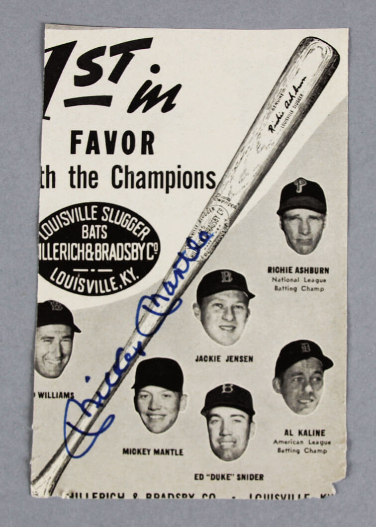 Vintage Pen Ad Signed by Mickey Mantle  - PSA/DNA