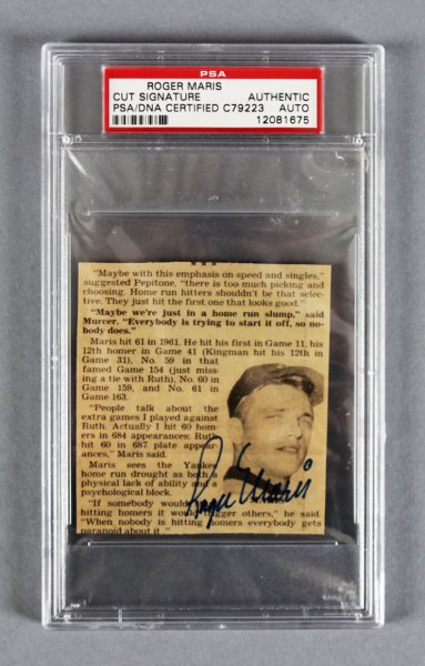 Roger Maris New York Yankees Signed Article  PSA/DNA Encapsulated