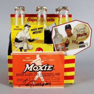 Ted Williams Boston Red Sox Signed Moxie Soda Label w/ 6 Pack - JSA