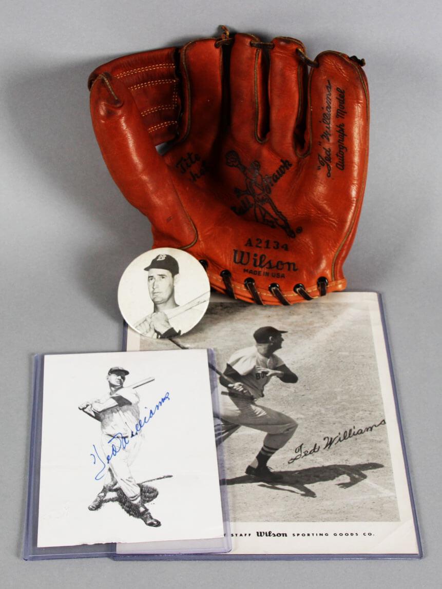 Ted Williams Signed Photo w/ Baseball Glove Red Sox - COA JSA