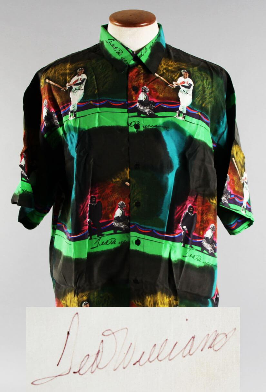 Ted Williams Signed Cut Dress Shirt - COA JSA