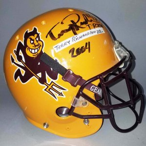 2004 Terry Richardson Game-Worn, Signed ASU Sun Devils Helmet - COA 100% Team